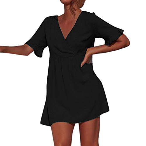 (Mimfor h Maxi Sexy Pencil Knee Length Club Backless Beach Low Skater Vintage 1950s Retro Prom Cap-Sleeve Women's Retro 1950s Style Sleeve Black)