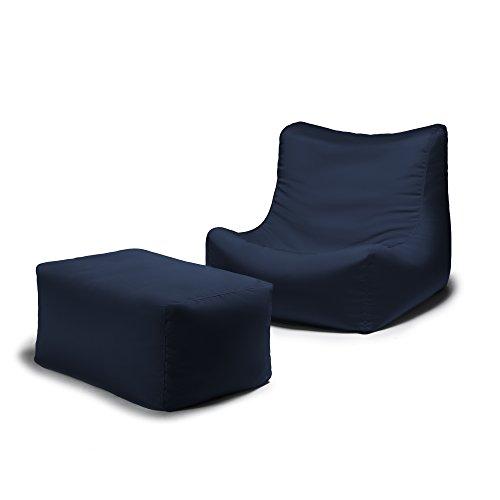 Jaxx Ponce Outdoor Bean Bag Lounge Chair & Leon Ottoman, Navy (Atlanta Furniture Store Best Outdoor)