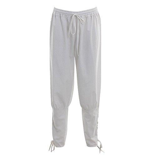 Renaissance Pantalon Médiéval Hommes Homme Vikings Pour Suit Blanc 4r4x5qPw