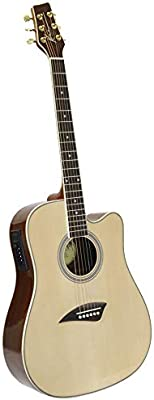 Kona K1E Acoustic Electric Dreadnought Cutaway Guitar in Natural High Gloss Finish