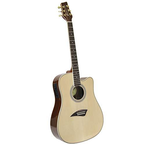 (Kona K1E Acoustic Electric Dreadnought Cutaway Guitar in Natural High Gloss Finish)