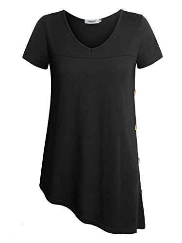 T-shirts Design Fine (Anna Smith Basic T Shirts Women, Basic Design Fine Knitted V Neck Blouse Wooden Buttons Decoration Roomy Loose Flared Tunic Top Beautiful Relaxed Asymmetrical Hem Pullover Black XX-Large)