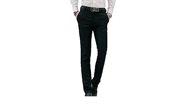 CRYYU Men Business Straight Leg Solid Colors with Pockets Slim Casual Pants Trousers