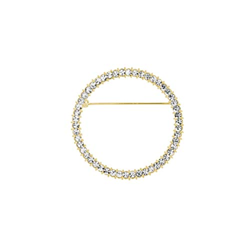 Shiny Geometry Circles Rhinestones Brooch for Women's Shawl Scarf Buckle Jewelry Men Suit Brooch Pins (Gold) ()