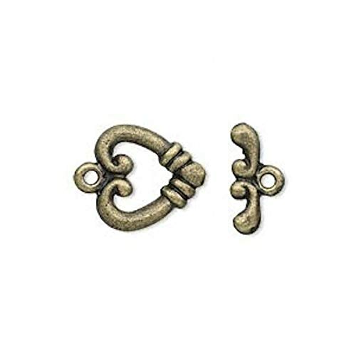(10 Sets Antiqued Brass Plated Pewter Heart Toggle Clasps / 14X13X2Mm)