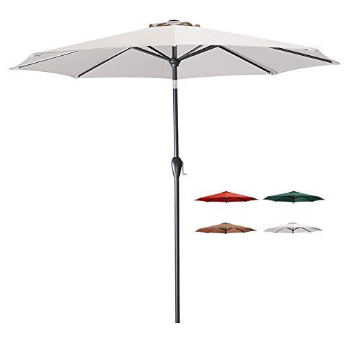 Tempera 9 Ft Patio Umbrella Outdoor Garden Table Umbrella with Tilt and Crank 8 Ribs in Beige Canopy (Patio Home At Depot Umbrellas)