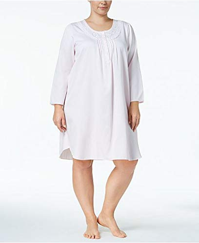 Miss Elaine Plus Size Brushed Satin Nightgown 83% Polyester 17% Cotton (2X) ()
