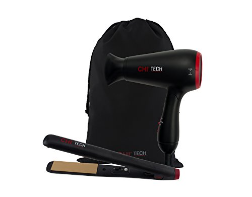 (CHI Tech Hair Dryer and Ceramic Hairstyling Iron - 2 Piece Travel Set )