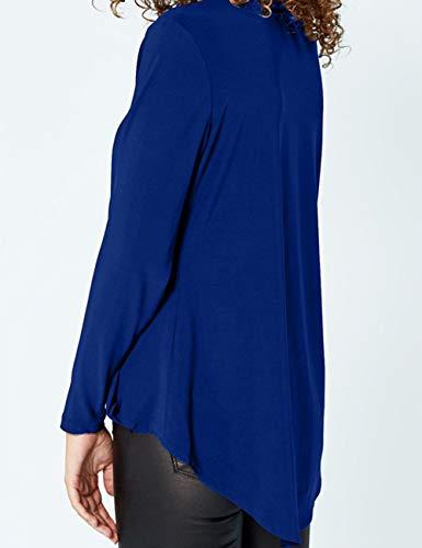 Chemise Taille Col Chemisier Tunique de Soie Hauts Longue Shirts Manche Tops Tee Blouse T Chic Bleu Femme Mousseline lgant Grande Casual V rwpXOqr0v