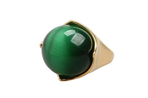 (Oakky Men's Stainless Steel Europe America Vogue Gemstone Ring Green Size 7)