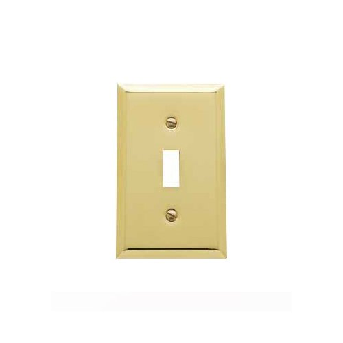 Baldwin 4751.030.CD Classic Square Beveled Edge Single Toggle Switch Plate, Polished Brass - Lacquered - Cover Solid Brass Switchplate