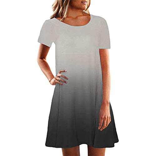 Sunmoot Women Short Sleeve Crew Neck Casual Loose Fitting Gradient Dresse D-Gray
