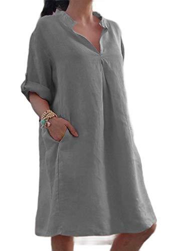 Unastar Women Comfort Pork Chop Pocket V Neck Short Linen Evening Dresses Grey 2XL ()