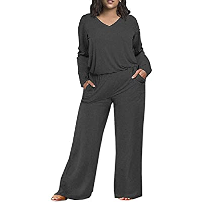 Yskkt Womens Plus Size Rompers Summer Short Sleeve V Neck Casual Loose Jumpsuits Playsuit Pockets: Clothing