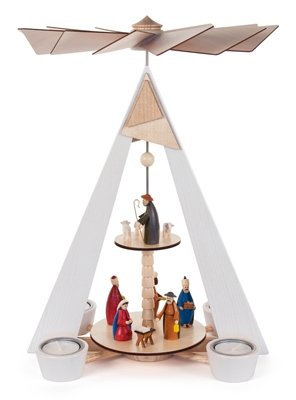 Pyramid knows 2-floor with Nativity scene colored, for tea light BxHxT 270 x 380 x 220mm AGAIN Ore Mountains Folk art Ore mountain craftsmanship table pyramid Christmas pyramid by Rudolphs Schatzkiste (Image #1)