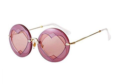 Lunettes Couleur Sunglasses X777 Love Lunettes de Lady de A Soleil A des Couleur Heart élégant Rondes Lunettes Peach 00tZ4