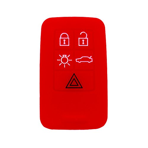 (Hwota Silicone Lightweight Car Remote Key Case Cover Shell for Volvo C30 C70 S40 V50 -Red)