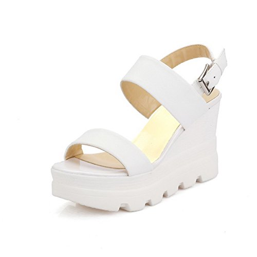 Open High White Sandals AllhqFashion Heels PU Toe Solid Women's Buckle vYqf5Tw