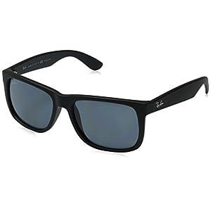 Ray-Ban Men's 0RB4165 Justin Polarized Sunglasses, Black Rubber, 55mm