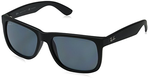 Ray-Ban RB4165 Justin Rectangular Sunglasses, Black Rubber/Polarized Blue, 55 mm