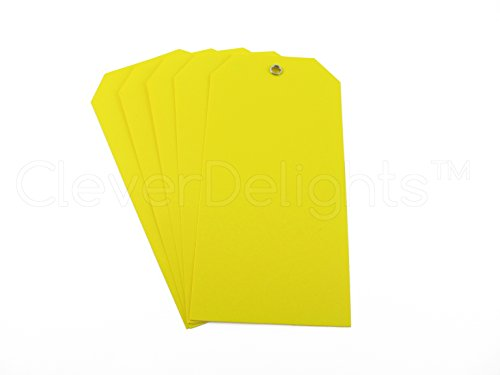 "100 Pack - Yellow Plastic Tags - 4.75"" x 2.375"" - Tear-Proof and Waterproof - Inventory Asset Identification Price Tags"