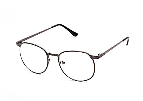 Flowertree S3115 Metal Frame Engraved Detail Side Round Eyeglasses (grey, - Cheap Glasses Engraved