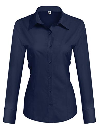 (Hotouch Women Blue Button Down Shirt Long Sleeve Oxford Dress Shirts Navy Blue Small)