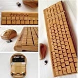 Smart Tech Handcrafted Natural Bamboo Wooden PC Wireless 2.4GHz Keyboard and Mouse Combo from Smart Tech