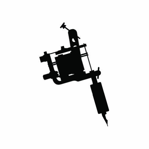 (Tattoo Machine #2 Logo Sticker Vinyl Decals- Die Cut Decal Bumper Sticker For Windows, Cars, Trucks, Laptops, Etc.)
