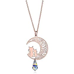 ISAACSONG.DESIGN Sterling Silver Rose Gold Cat Moon Charms Pendant Necklace for Women (Rose Gold Cat Moon Necklace)