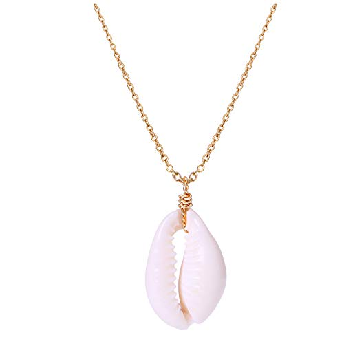 POTESSA Natural Cowrie Shell Pendant Choker Necklace ()