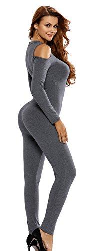 La Vogue Femme Combinaison Gris Epaule Rompers Pantalons Coton