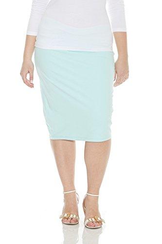 Esteez Women's Basic Stretchy Knee Length Modest Plus Size Pencil Skirt Dallas