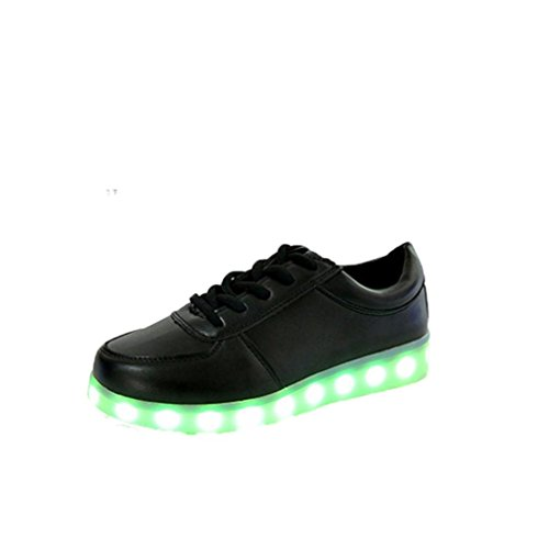 WYXlink Unisex LED Light Up Shoes USB Cable Charging Luminous Lace Up Sneakers Couples Shoes Black