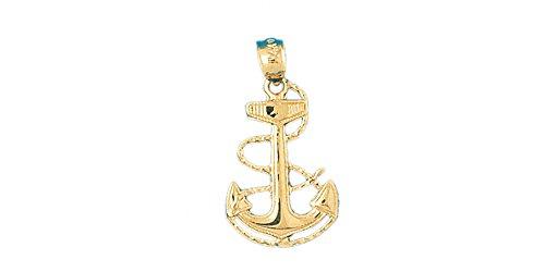 14k Yellow Gold Anchor Pendant (15mm x 27mm) ()