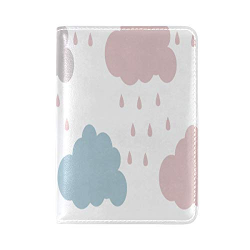 Passport Cover Case Colorful Cloud Cartoon Design Creativity Leather&microfiber Multi Purpose Print Passport Holder Travel Wallet For Women And Men 5.51x3.94 In