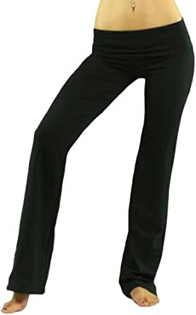 ToBeInStyle Women's Elastic Exercise Sweatpants w/ Fold-Over Waistband - Small - Black