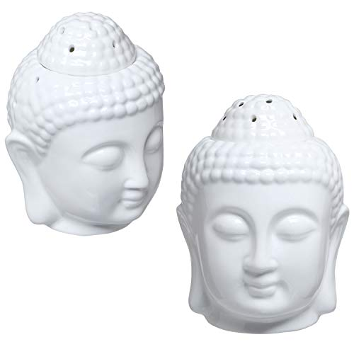 MyGift Translucent White Ceramic Buddha Head Tealight Candle Holder and Aromatherapy Oil Burner