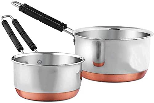 Liolis Stainless Steel Copper Bottom Saucepan, Induction Base Saucepan, Tea Coffee Pan, Milk Pan, Tapeli Patila, Sauce Pot Cookware with Handle Combo Set of 2 (1 LTR, 2.2 LTR)