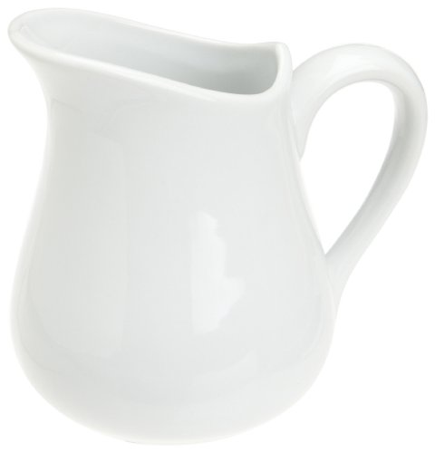 Honey-Can-Do 8053 Porcelain Pitcher, White, 8-Ounces (Syrup Ceramic Pitcher)