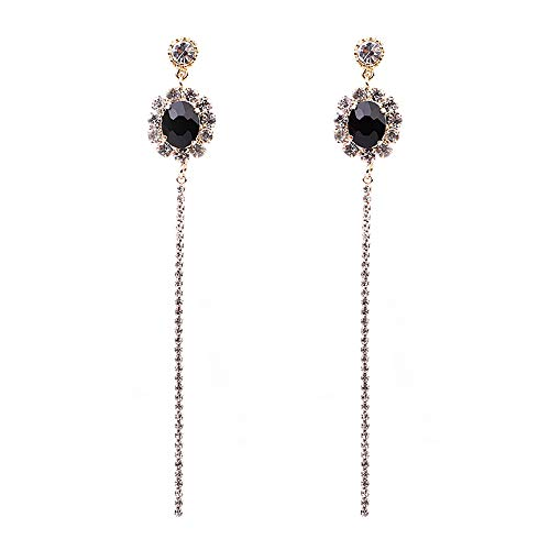 Black Onyx Rhinestone - Delice N Delight Style Collection Gold Plating Black Onyx Stone Drop Earring