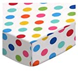 SheetWorld Fitted Pack N Play Sheet Fits Graco 27 x 39 – Primary Colorful Polka Dots Woven – Made In USA