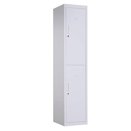 "(Vinsetto 71"" 2 Tier Freestanding Steel Metal Lockable Employee Wall Locker Storage Cabinet -)"