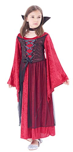 Halloween Girls' Vampire Princess Costume Dress, 2Pcs (dress, stand up collar) (6-8Y)]()