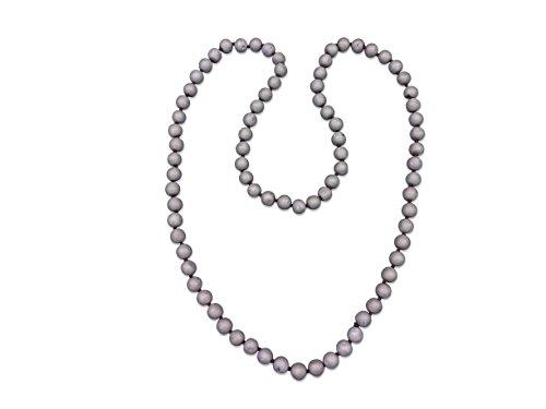 Genuine Precious Stone (38 Inch 10MM Matte Finish Genuine Semi-precious Druzy Agate Stone Platinum Colored Long Endless Infinity Beaded Necklace.)
