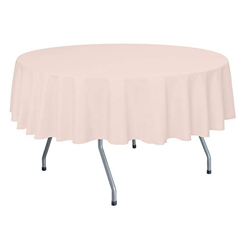 Ultimate Textile 60-Inch Round Polyester Linen Tablecloth - Fits Tables Smaller Than 60-Inches in Diameter, Ice Peach ()