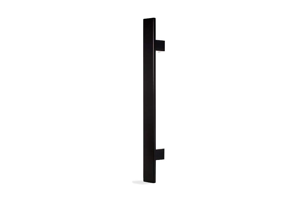 Modern Contemporary 12 inches Square Rectangle Flat Shape Stainless-Steel Door Handle Pull Shower Glass Barn Entry Exterior Interior Gate Entrance Sliding Towel Bar Cabinet Matte Black-Painted Finish