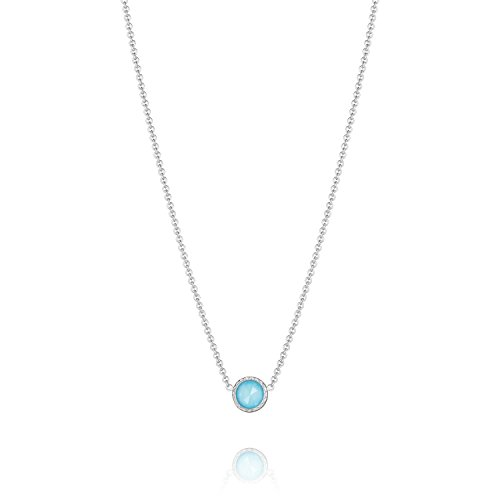 Tacori Bezel Necklace (Tacori SN15405 Sterling Silver Island Rains Quartz over Synthetic Turquoise Bezel Necklace (18))
