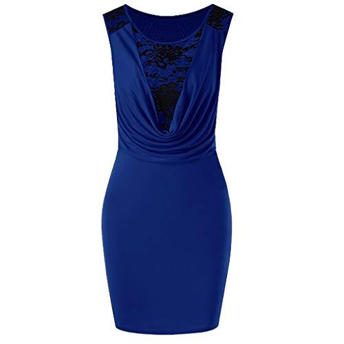 New!Qingell Women Vintage Lace Dress Summer Sleeveless Solid Slim Fit Hip Dress Crossover V-Neck Dress (M, Blue)