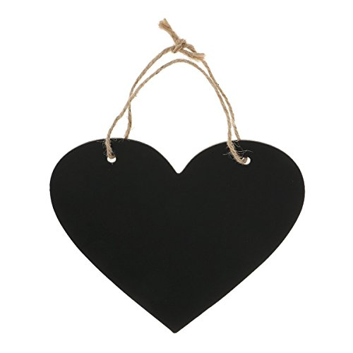 WINOMO Heart Chalkboard Sign Wedding Hanging Decoration Wooden (Shaped Chalk)